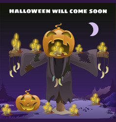 Poster in style of holiday all evil halloween vector