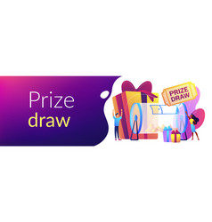 Prize draw concept banner header vector