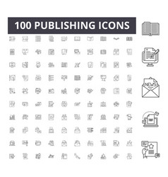 Publishing line icons signs set outline vector