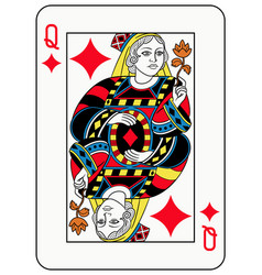 queen of diamonds french version vector image