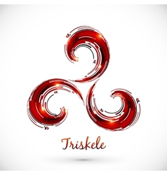 Red abstract triskele symbol vector image