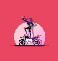 rider stands on a moving motorcycle vector image