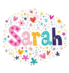 Sarah female name decorative lettering type design vector