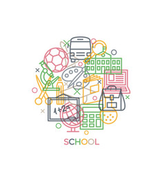 school concept with icons and signs in line style vector image