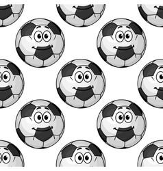 seamless pattern of cartoon soccer balls vector image