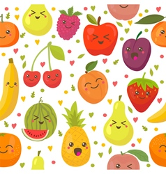 Seamless pattern with happy fruits Cute background vector
