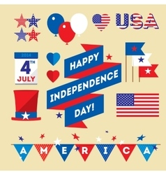 Set design elements for USA Independence Day vector