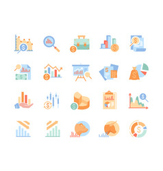 set financial analytics related line vector image