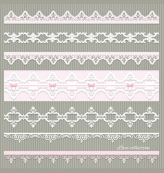 Set of cute straight lace in pastel colors vector