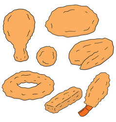 set of fried food vector image