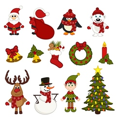 set of isolated christmas characters and vector image