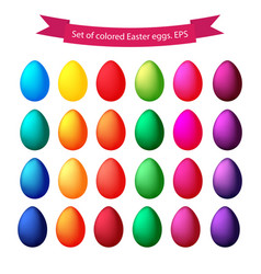 set of isolated colored easter eggs on a white vector image