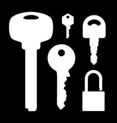 set of keys lock on black background vector image