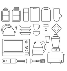 Set of line kitchen isolated elements vector