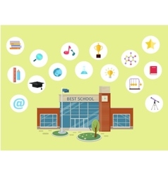 Set of school icons building book devices vector