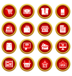 shopping icon red circle set vector image