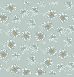 Simple soft blue daisy florals tender pastel vector