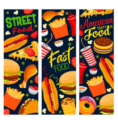 Street food banners american fast food cafe vector
