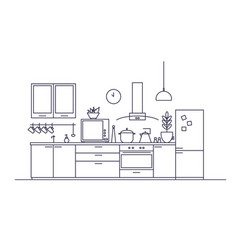 stylish interior of kitchen full of modern vector image