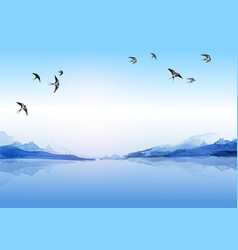 Swallow birds flying in sky over water and vector