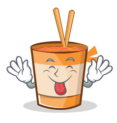 tongue out cup noodles character cartoon vector image