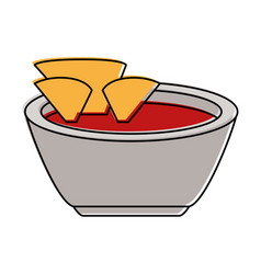 Tortilla chips with salsa icon image vector