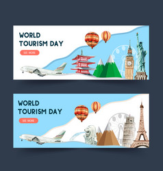 Tourism day banner design with globe asia europe vector