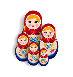 traditional russian matrioska doll family isolated vector image