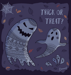 trick or treat lovely halloween card with cute vector image