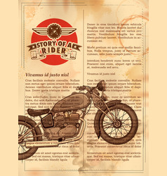 vintage motorcycle on retro background vector image