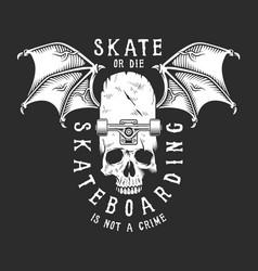 Vintage white skateboarding logo vector
