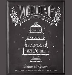 Wedding invitation vintage card vector