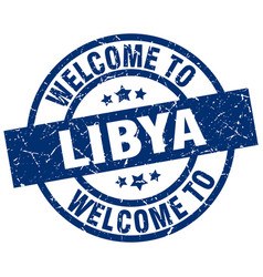 welcome to libya blue stamp vector image