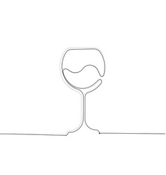 wine glass icon in single line drawing wineglass vector image