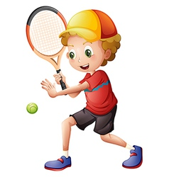 A cute little boy playing tennis vector image