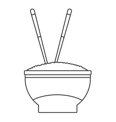 bowl of rice icon outline style vector image vector image