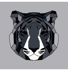 Gray lined low poly tiger vector image