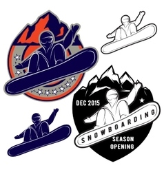 set badges for extreme sports snowboarding vector image vector image