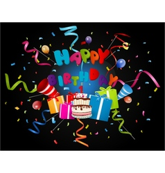 birthday background with confetti and cake vector image vector image