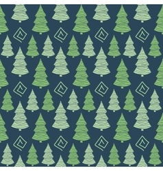 Christmas green tree seamless pattern vector image