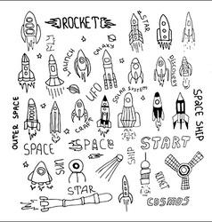 rocket set hand drawn vector image vector image