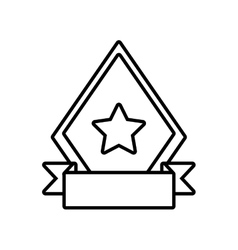 Shield star quality badge ribbon outline empty vector