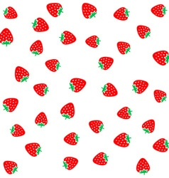 Strawberry berries on a white seamless pattern vector image