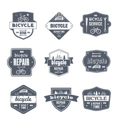 bicycle repair - vintage set of logos vector image