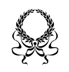 Black foliate circular wreath with ornate ribbons vector