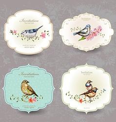 collection retro label of cute bird watercolor vector image vector image