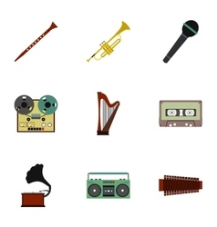Musical device icons set flat style vector image vector image