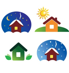 set of house icons different season and weather vector image