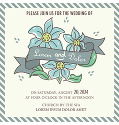 wedding invitation blue flowers and ribbon vector image vector image