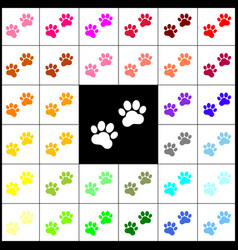 animal tracks sign felt-pen 33 colorful vector image vector image